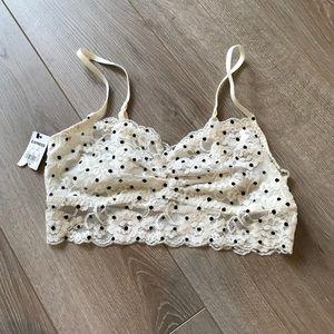 NWT White with black polka dots bralette!